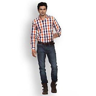 Fast N Fashion Contemporary Cotton Orange Checks Shirt