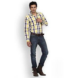 Fast N Fashion Mod Cotton Yellow Checks Shirt