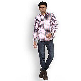Fast N Fashion Smart Cotton Red Checks Shirt