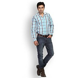 Fast N Fashion Swank Cotton Blue Checks Shirt