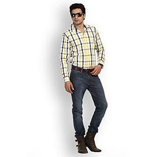 Fast N Fashion Trendy Cotton Yellow Checks Shirt