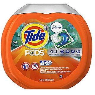 Tide Pods Plus Febreze Laundry Detergent Packs Bag, Botanical Rain, 54 Count