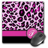 3dRose LLC 8 X 8 X 0.25 Inches Mouse Pad, Personalized Initial T Monogrammed Hot Pink And Black Leopard Pattern, Animal
