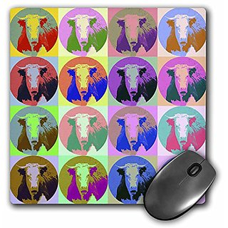 3dRose LLC 8 x 8 x 0.25 Inches Cartoon Cow Pop Art Mouse Pad (mp_8070_1)