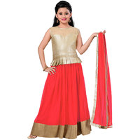 Aarika Girls Self Design Party Wear Lehenga Choli and Dupatta Set