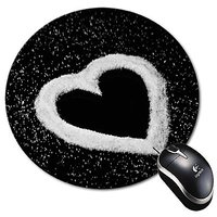 Mouse Pad White And Black Heart - Love - Design Round Mouse Pad Mousepad