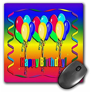 3dRose LLC 8 x 8 x 0.25 Inches Happy Birthday Balloon and Streamer Mouse Pad (mp_20140_1)