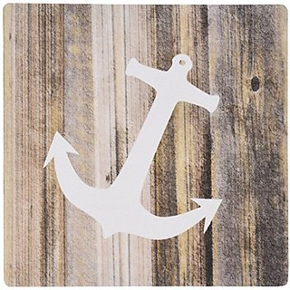 3dRose LLC 8 x 8 x 0.25 Inches Mouse Pad, Image of White Anchor on Planks (mp_173902_1)