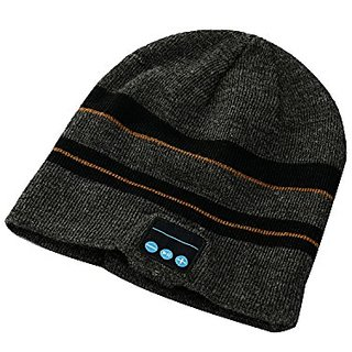 DEALPEAK Best Christmas Gift Knit Hands-free Bluetooth Music Beanie Hat Headset with Mic (Grey+black)