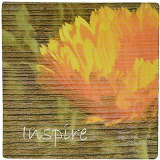 3dRose LLC 8 x 8 x 0.25 Inches Mouse Pad, Orange Flower Inspire Motivational quotes (mp_29445_1)