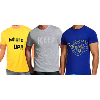 Pack of 3 Printed Round Neck T Shirts