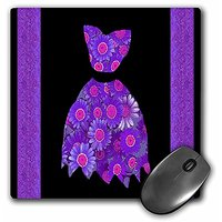 3dRose LLC 8 X 8 X 0.25 Inches Mouse Pad, Purple And Pink Flowered Dress On Black Background With Damask Ribbons (mp_302
