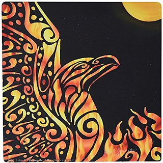 3dRose LLC 8 x 8 x 0.25 Inches Mouse Pad, Phoenix Fantasy Fire Tribal (mp_23172_1)