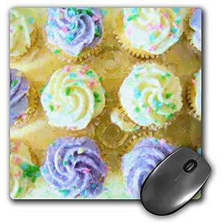 3dRose LLC 8 x 8 x 0.25 Inches Cupcakes On Yellow II Mouse Pad (mp_17224_1)