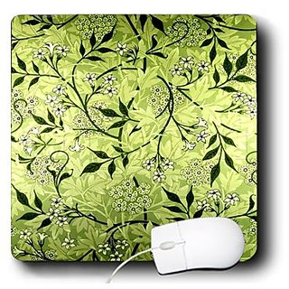 3drose Print of Vintage Lime Green Swirly Floral Pattern - Mouse Pad