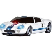 Roadmice Optical Computer Wireless Radio Frequency USB 800 DPI Scroll Wheel Car Mouse Ford GT, White/Blue