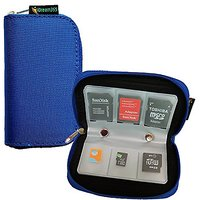 IDream365(TM) Blue Memory Card Carrying Case/Pouch Holder For SD SDHC MMC CF Micro SD Memory Card- 8 Pages And 22 Slots