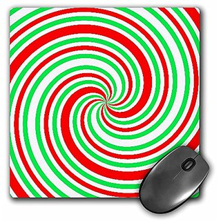 3dRose LLC 8 x 8 x 0.25 Inches Mouse Pad, Red n Green Spiral (mp_30684_1)
