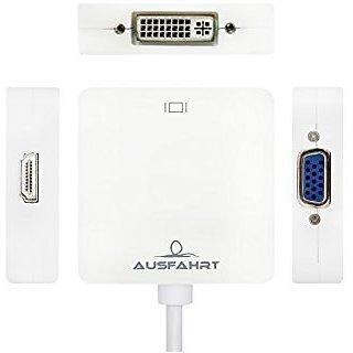 Ausfahrt 3 In 1 Mini Displayport(Thunderbolt) to HDMI VGA DVI Adapter Cable for MacBook, Imac, MacBook Air, MacBook Pro,