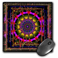 3dRose LLC 8 X 8 X 0.25 Inches Mouse Pad, Mandala, Purple/Yellow/Red (mp_23498_1)