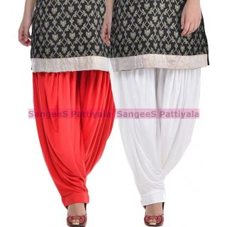 SangeeS Superior Quality Viscose Lycra Pattiyala 2 Pack Combo With   Red - White