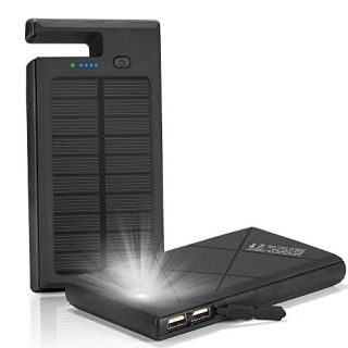 Solar Charger, Solar Power Bank 10000mAh with Phone Dock & Flashlight Function ; Shockproof Rain-proof Dual USB Solar Pa