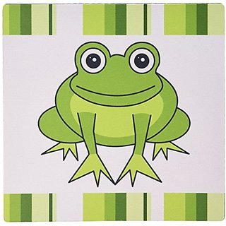 3dRose LLC 8 x 8 x 0.25 Inches Mouse Pad, Cute Happy Green Frog with Stripes (mp_6104_1)