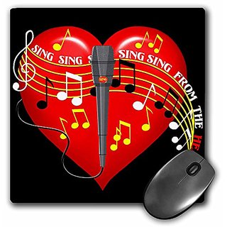 3dRose LLC 8 x 8 x 0.25 Inches Mouse Pad, Large Red Heart, Musical Notes, Microphone, Sing From the Heart text, Dark Bac