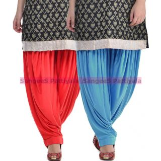 SangeeS Superior Quality Viscose Lycra Pattiyala 2 Pack Combo With   Red - Sky Blue