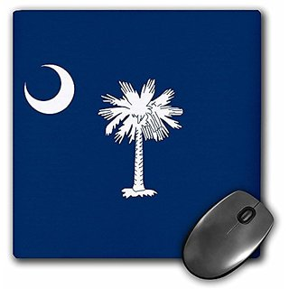 3dRose LLC 8 x 8 x 0.25 Inches Mouse Pad, Flag of South Carolina SC - US American United State of America USA White Palm