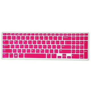 Avigator Translucent Hot Pink Ultra Thin Silicone Keyboard Protector Skin Cover for Dell Inspiron New 15R N5110 M5110 M5