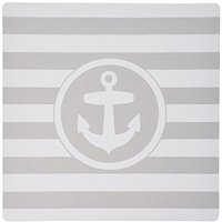 3dRose LLC 8 X 8 X 0.25 Inches Mouse Pad, Nautical Anchor Circle Design On Grey And White Striped Gray Stripes (mp_17968