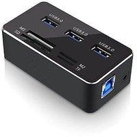 Momoday High-speed Aluminum Multifunctional 3 Port USB 3.0 HUB + USB3.0 Card Reader Comb(Black)