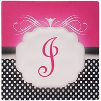 3dRose LLC 8 X 8 X 0.25 Inches Elegant Pink With Black And White Polka Dot Monogram Letter J, Mouse Pad (Mp_113849_1)