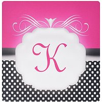 3dRose LLC 8 X 8 X 0.25 Inches Mouse Pad, Elegant Pink With Black And White Polka Dot Monogram Letter K (mp_113850_1)