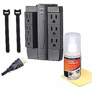 Alphaline TV Accessory Kit - HDMI Cables, Surge Protector, Cleaning Kit