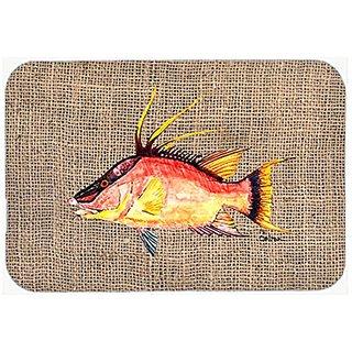 Carolines Treasures Hog Snapper on Faux Burlap Mouse Pad/Hot Pad/Trivet (8753MP)