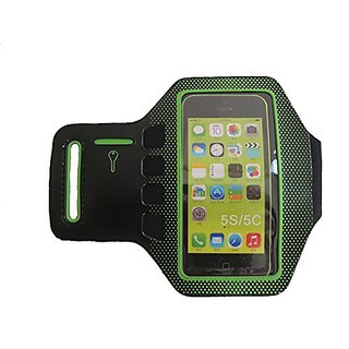 iPhone 5, 5S, 5C Armband with Key Pocket - Touchscreen Compatible (Green)