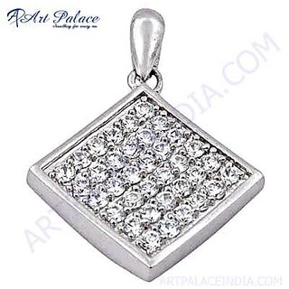 Exclusive CZ Silver Pendant Set