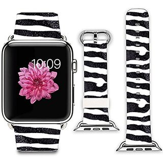 Apple Watch Band+adapter 38mm Stainless Steel Silver Metal Replacement Strap Wrist Band for iPhone Watch 38mm (100% Leat