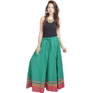 Ethnic Rajasthani Green Cotton Long Skirt