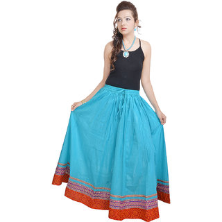 Shree Fashion Art Fashionable n Ethnic Blue Cotton Long Skirt