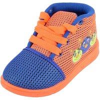 Adcom Baby's Boy Blue Orange Mesh First Walking Shoes