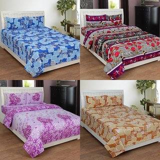 BSB Trendz 3D Printed Double Bedsheet With 2 Pillow Covers-(C4-435)