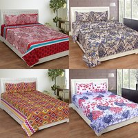 BSB Trendz 3D Printed Double Bedsheet With 2 Pillow Covers-(C4-446)
