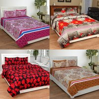BSB Trendz 3D Printed Double Bedsheet With 2 Pillow Covers-(C4-448)