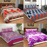 BSB Trendz 3D Printed Double Bedsheet With 2 Pillow Covers-(C4-449)