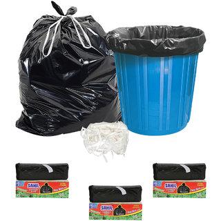 Sahil Pack of 3 Black Biodegradable Tie String Garbage Bags (45 pcs)