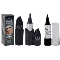 ADS Ultimate Waterproof,Matte Black,Herbal Kohl Kajal Pack Of 1 And Free Kajal-UOU