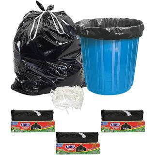 Sahil Pack of 3 Black Biodegradable Tie String Garbage Bags (30 pcs)